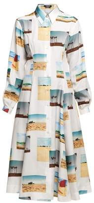 Calvin Klein Postcard Print Silk Shirtdress - Womens - White Multi