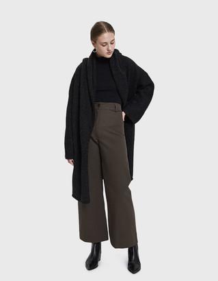 LAUREN MANOOGIAN Women's Capote Shawl Coat in Black Melange | Alpaca/Nylon
