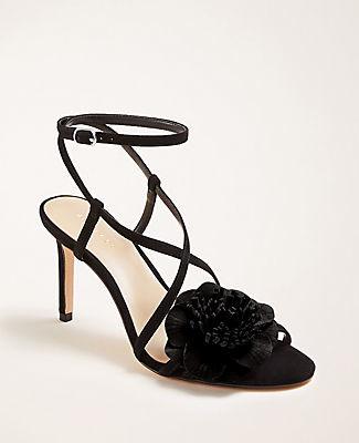 Ann Taylor Celie Flower Suede Sandals