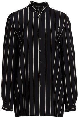 St. John Striped Silk Blouse