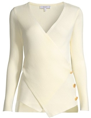Milly Crossfront Long-Sleeve Knit Top