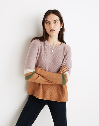 Madewell Striped Roll-Trim Waffle Pullover Sweater in Cotton-Merino Yarn