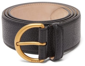 Gucci Metal Bee Detail Grained-leather Belt - Mens - Black