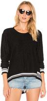 Wilt Big Backslant Rib Mix Trim Sweatshirt in Black. - size S (also in XS)