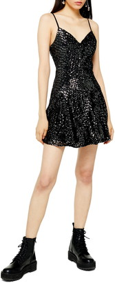 Topshop Godet Hem Sequin Minidress
