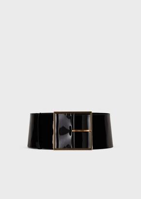 Giorgio Armani Wide Patent Leather Belt