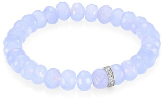 Sydney Evan 14K White Gold, Diamond & Chalcedony Rondelle Beaded Bracelet