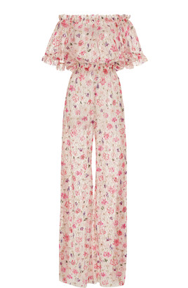 Luisa Beccaria Off-The-Shoulder Floral-Print Chiffon Jumpsuit
