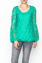 Karlie Teal Crochet Blouse