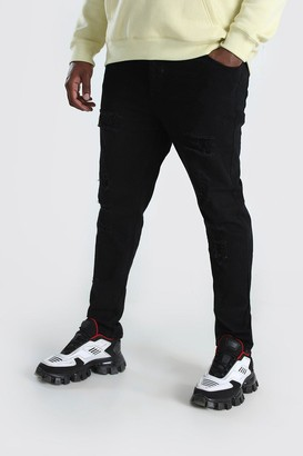boohoo Mens Black Big & Tall Skinny Fit Jeans All Over Rips, Black