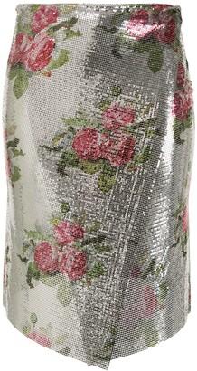 Paco Rabanne Metallic Floral Wrap Skirt