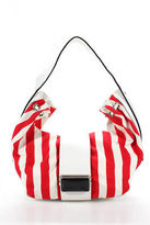 Giorgio Armani White Red Leather Trim Striped Squeeze Clasp Hobo Shoulder Bag