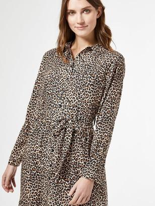 Dorothy Perkins Leopard Print Tie Neck Shirt Dress - Brown