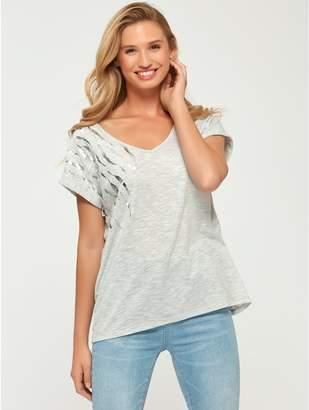 M&Co Foil v neck t-shirt