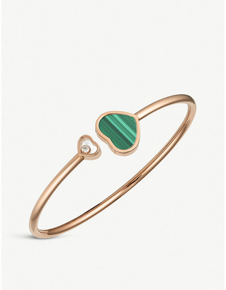 Chopard Happy Hearts 18ct rose-gold malachite and diamond bangle bracelet