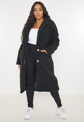 Missguided Plus Size Black Borg Teddy Long Coat