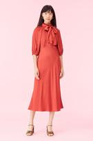 Rebecca Taylor Satin Tie Neck Dress