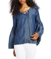 Sanctuary Lila Tie Front Bell Sleeve Chambray Blouse