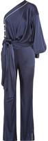 Jonathan Simkhai One-shoulder Tie-front Satin Jumpsuit - Midnight blue