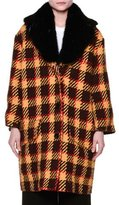 Marni Fur Collar Check Oversized Coat, Dawn/Brown/Yellow/Red
