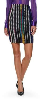Versace 1980s Multicolor Striped Knit Pencil Skirt