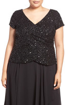 Adrianna Papell Sequin Wrap Front Top (Plus Size)