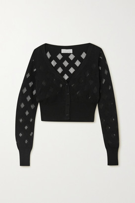 Fleur Du Mal Cropped Cotton-blend Cardigan - Black