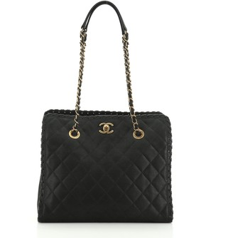 Chanel Happy Stitch Tote Quilted Velvet Calfskin Small