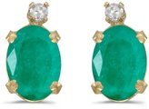 Direct-Jewelry 14k Yellow Gold Oval Emerald And Diamond Earrings