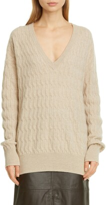 Co Cable Knit Longline Cashmere Sweater