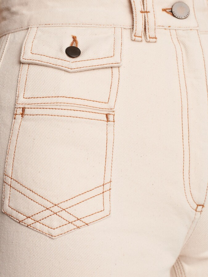 Thumbnail for your product : Gerard Darel Anna High-Waisted Wide Leg Jeans, Beige