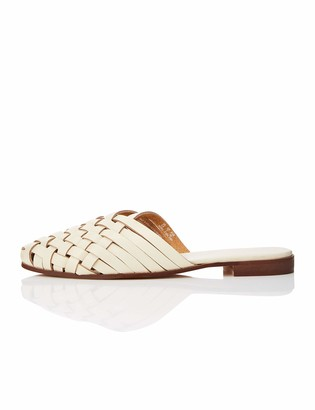 find. Woven Open Back Leather Mocassins