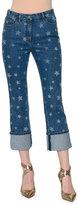 Valentino Star-Print Deep-Cuff Cropped Jeans, Light Blue Denim