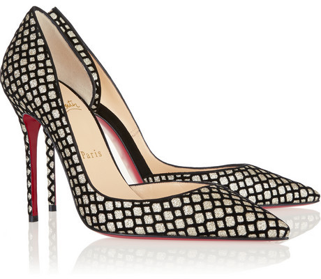Christian Louboutin Iriza 100 flocked glitter-finished pumps