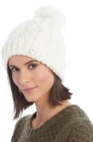 LOLA Cosmetics White Cable-Knit Pom-Pom Beanie