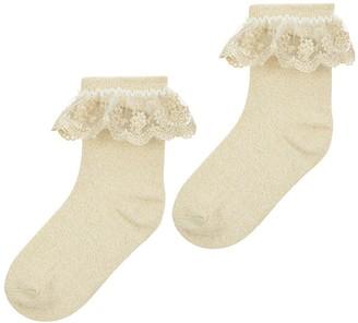 Monsoon Girls 2 Pack Lace Socks - Gold