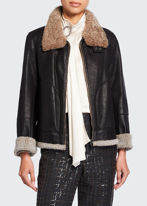 Brunello Cucinelli Shearling Fur-Lined Leather Moto Jacket