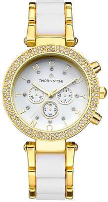 Timothy Stone Women 'Desire' Crystal Accented Two Tone Bracelet Boyfriend Watch