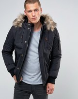 Schott Vermont 4 Hooded Bomber Detatchable Faux Fur Trim