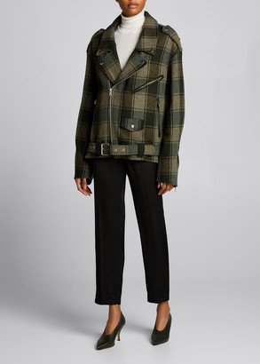 Dries Van Noten Plaid Wool Moto Jacket