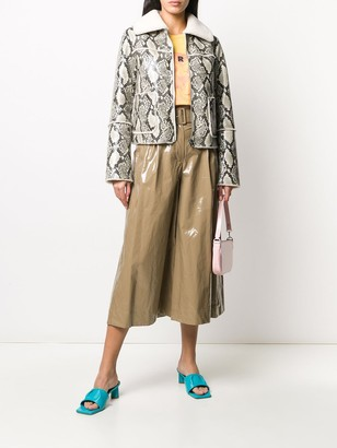 MSGM Vinyl-Effect Flared Trousers