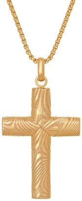 Lynx Men's Gold-Tone Damascus Steel Textured Cross Pendant Necklace