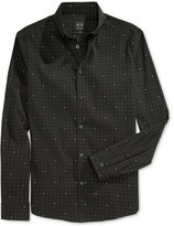 "Armani Exchange Men's Pin Dot with ""A"" Graphic Print Button Down Long Sleeve Shirt"