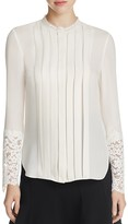 Elie Tahari Nicola Lace Trim Pleated Silk Blouse