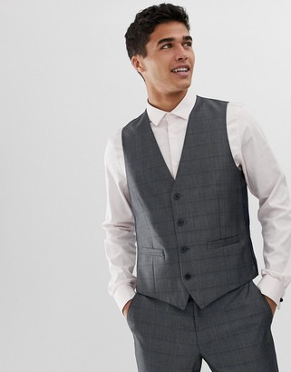 French Connection prince of wales check slim fit suit vest
