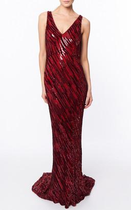 Jenny Packham Waltz Embellished Crepe Gown