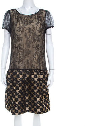 RED Valentino Black Floral Lace and Jacquard Paneled Short Sleeve Dress L