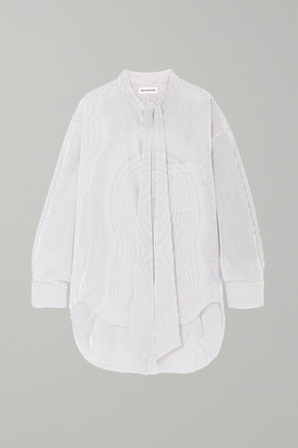 Balenciaga New Swing Striped Cotton-poplin Shirt - White