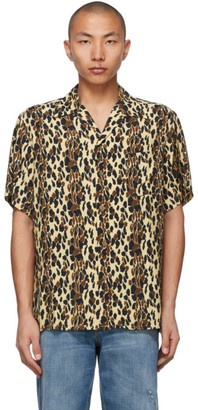 Wacko Maria Beige and Brown Leopard Open Collar Short Sleeve Shirt