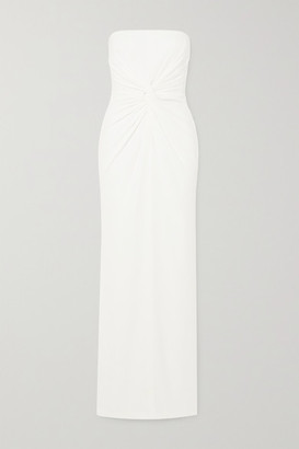 Alex Perry Brooklyn Strapless Twist-front Satin-crepe Gown - White